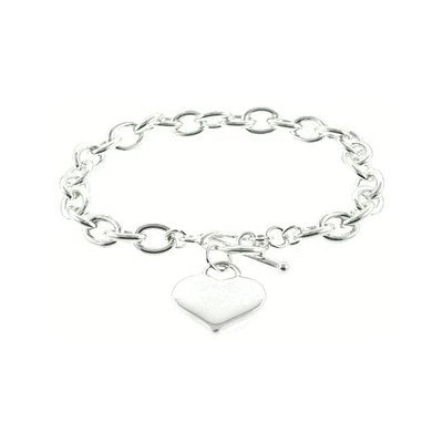 Designer Inspired Silver Heart Charm Toggle Bracelet Links Of Love: Jewelry: Amazon.com