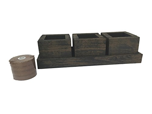 Three Red Cedar Wood Planter Boxes with Soil & Tray (Wicker Brown) (Interior Window Planter compare prices)