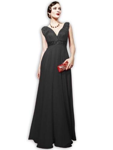 d801716dbdf0 VILAVI Women's A-line V-neck Straps Long Evening Dresses 20W Black