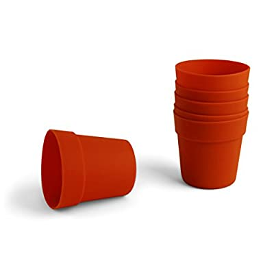 Huswell Mini Flower Pot Silicone Baking Molds For Dirt Cups Pack of 6