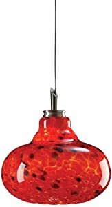 PLC Lighting PLC 1 Light Mini Pendant Genie Collection 349 RED, Satin Nickle finish