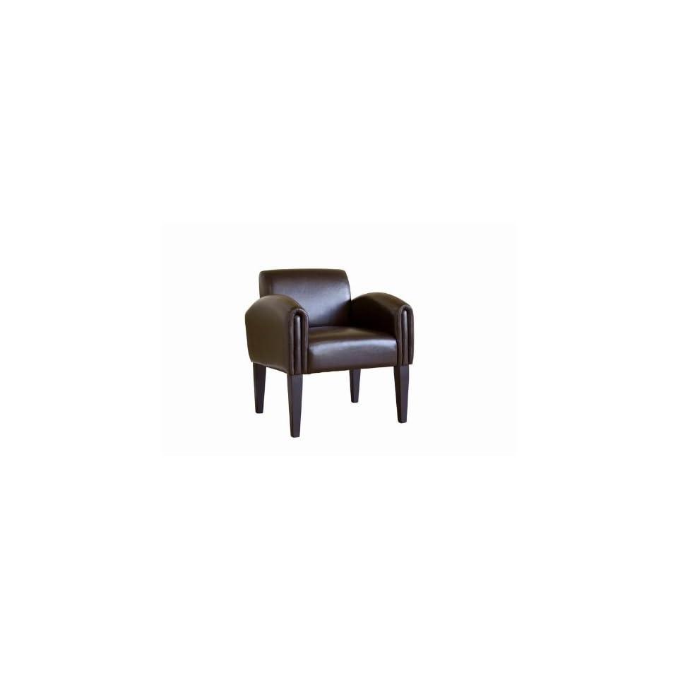 Dark Brown Full Leather Modern Club Chair