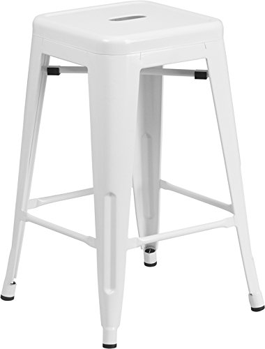 Flash Furniture 24 Backless White Metal Counter Height Stool