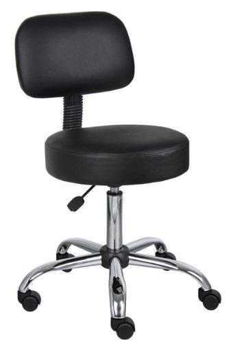 Boss - Boss Caressoft Black Doctor's Stool With Back Cushion
