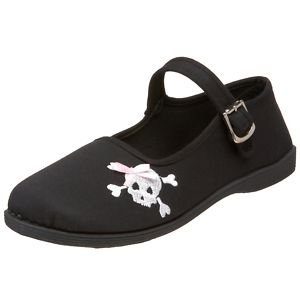 DEMONIA New Black Canvas Skull Punk Flat Ballet Mary Jane Rock Goth LADIES Shoes - Ladies UK 4 / EU 37 / US 7