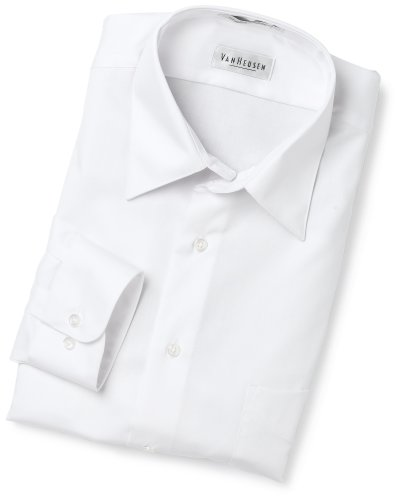 Van Heusen Men's Wrinkle Free Lux Sateen Long Sleeve Shirt,White,17.5 34/35