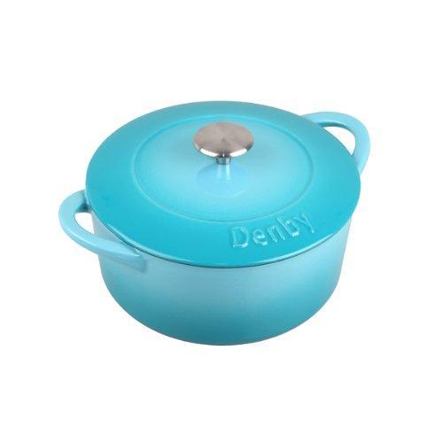 Denby Cia-588 Cast Iron Round Covered Casserole, 3-Liter, Blue