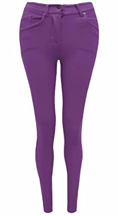LADIES SKINNY COLOURED JEGGINGS STRETCH TROUSER JEANS LEGGINGS SIZES 8 10 12 14 16 18 20 (Small (8), PURPLE)