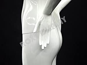 (MD-XD04W) ROXYDISPLAYTM Glossy White Fiberglass Abstract Female Mannequin, standing pose (Color: MD-XD04W)