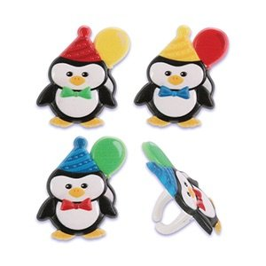 Penguin Birthday Party Cupcake Rings - 24 pcs