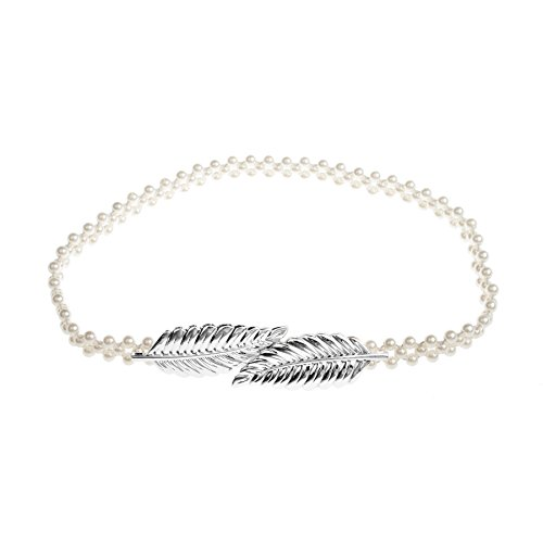 TopTie Three Rows Faux Pearl Elastic Belt, Double Leaf Buckle SILVER-XS