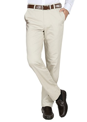 Modo-Mens-Regular-Fit-100-Cotton-Formal-Dobby-Cream-Trouser