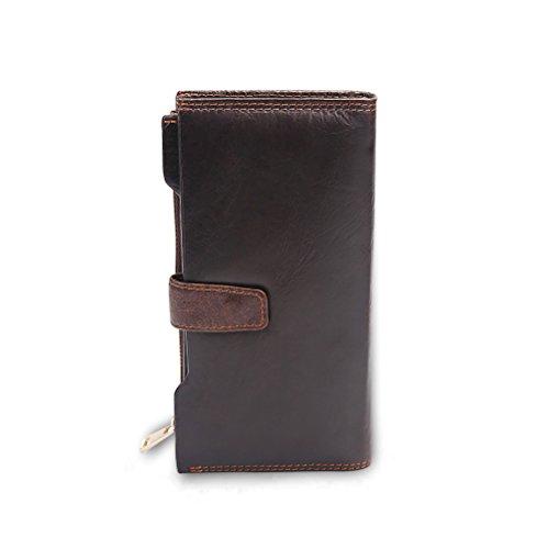 LQT a portafoglio, in pelle, marrone scuro, da uomo, colore: caffè