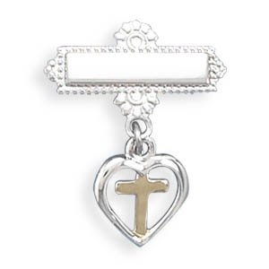 Sterling Silver Baptismal Pin with Heart and Cross Charm Two Tone Finish