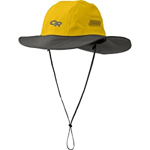 Outdoor Research Seattle Sombrero Rain Hat, 498-Yellow/Dark Grey, Small