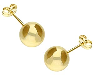 Adara 9ct Yellow Gold Round 8mm Ball Stud Earrings
