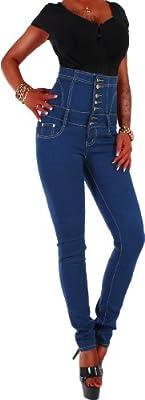 Damen Röhren Hochschnitt Jeans Hose Blau mit Corsage-Schnürung 34 XS / 36 S / 38 M / 40 L / 42 XL
