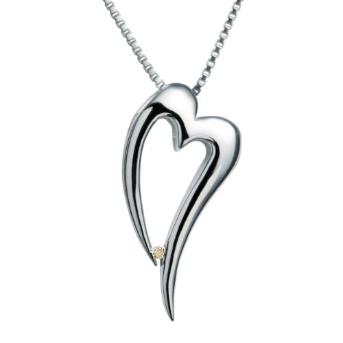 Diamond Pendant Necklace, Sterling Silver Chain, 45cm Length, 0.01 Carat Diamond Weight, Model DP088, by Hot Diamonds