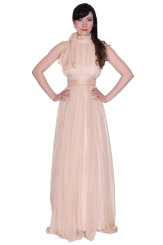 Beautifly Women's Stunning Bow Tie Turtle Neck Maxi Long Ball Gown Evening Dress