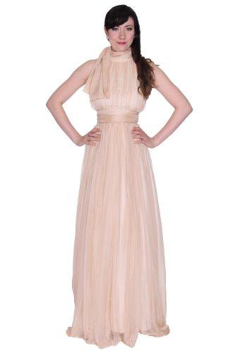 Beautifly Women's Stunning Bow Tie Turtle Neck Maxi Long Ball Gown Evening Dress