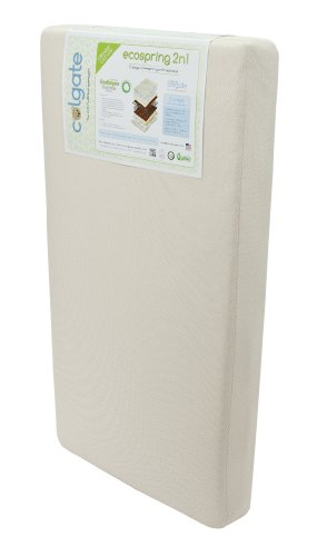 Colgate Ecospring 2-N-1 - Organic Cotton Innerspring Crib and Toddler Mattress with Waterproof Cover,Ecru