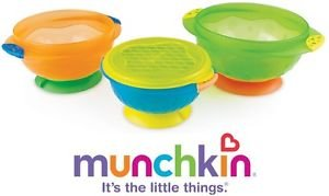 Munchkin Stay Put Rubber Suction Plastic Bowls For Children Toddlers (Pack Of 3) Great Gift For Baby Free Shipping Ship Worldwide front-897810
