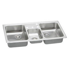 Elkay PSMR43226 Pacemaker Bowl Triple Basin Kitchen Sink