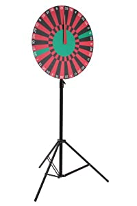 Roulette Style Carnival Wheel with Height Adjustable Tripod, Write-On Foam Board, 38 Numbered Prize Slots, Free-Standing, 36 x 84 x 36-Inch
