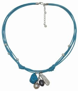 Turquoise leather cord necklace with freshwater pearls and turquoise. Necklace is 16