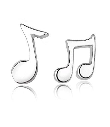 Celebrity Jewellery S925 Sterling Silver Music Note valentine regalo carino Piccolo Orecchini Donne