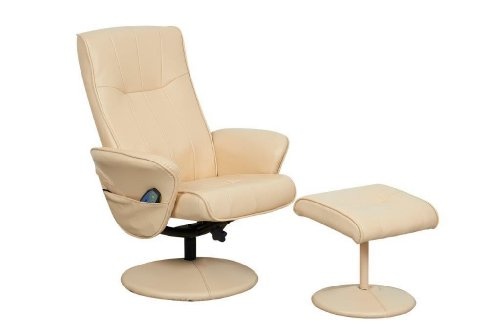 Global Furniture Alliance Milan Faux Leather Recliner with Massage Function and Footstool, Cream