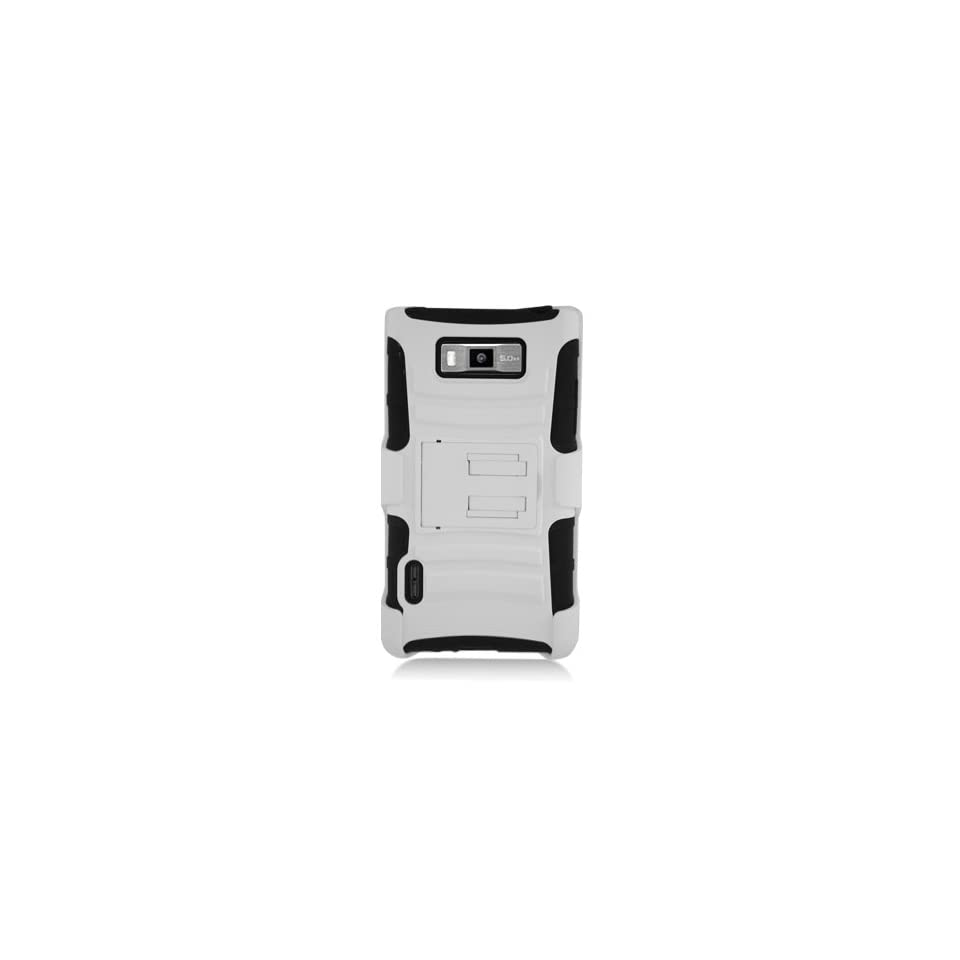 [ManiaGear] White/Black Combat Heavy Duty Case for LG Optimus Showtime L86C/L86G + ManiaGear Screen Protector