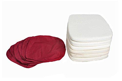 Outflexx Möbel 6x Sitzkissen, 6x rote Bezüge, weiß / elfenbein