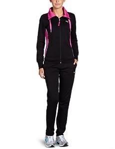 puma damen trainingsanzug sweat open black rose violet l 821728 01 sport freizeit. Black Bedroom Furniture Sets. Home Design Ideas