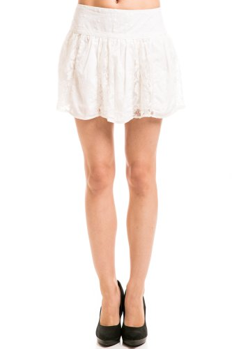 Lace Canvas Stitch Skirt in White