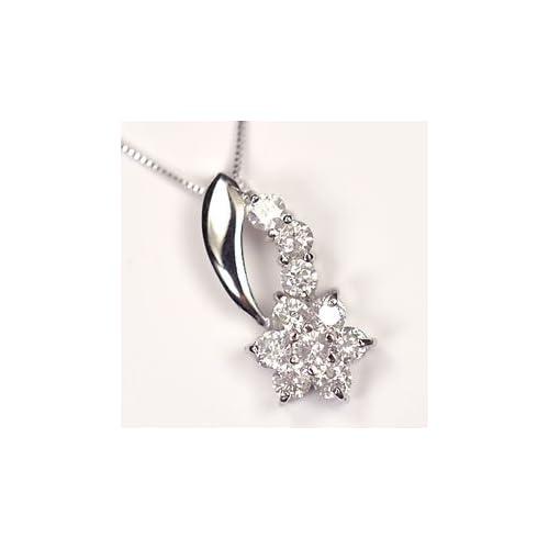 [キュートジュエリー]Cute jewerly ダイヤモンド ペンダント ネックレス K10WG ダイヤ0.5ct (鑑別書カード付) スウィートフラワーペンダント