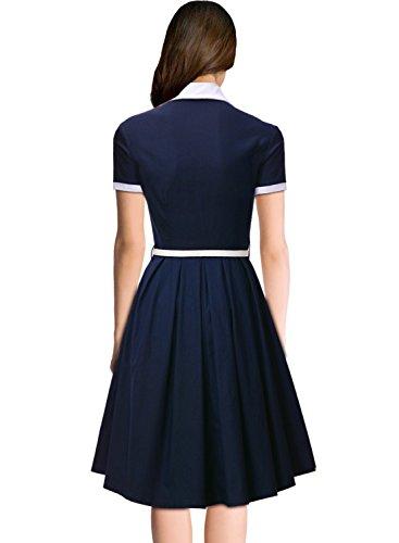 Miusol-Damen-Schulmaedchen-Revers-mit-Schleife-Marine-Stil-Rockabilly-Cocktailkleid-Business-80er-Jahr-Kleid-Blau-GrS