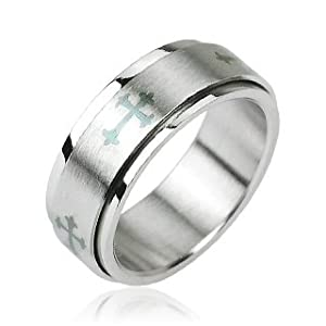 Urban HQ Stainless Steel Silver Layered Spinning Worry Ring with Celtic Medieval Gothic Cross Centre - US Size 09 - UK Size S