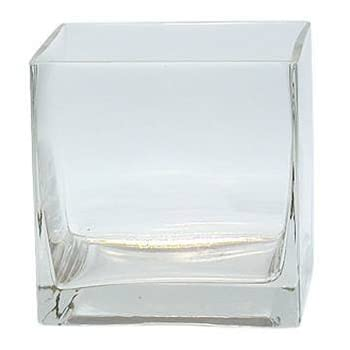 6-Pack Clear Square Glass Vase - Cube 4 Inch 4