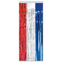 1-Ply FR Gleam 'N Curtain (red, white, blue) Party Accessory  (1 count) (1/Pkg)