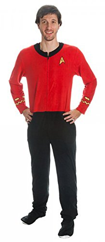 Star Trek Scotty Red Engineering Uniform Onesie Pajama (Medium) back-565531