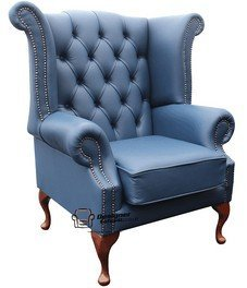 Chesterfield Queen Anne ala con schienale alto, prodotto nel Regno Unito maiolica blu in pelle