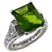 Sterling Silver Square Green CZ Ring Size#6