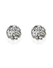 M&S Collection Silver Plated Diamanté Snowball Stud Earrings
