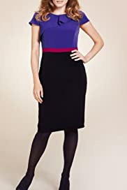 Per Una Cap Sleeve Colour Block Frill Dress [T62-6386I-S]