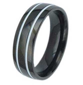 7MM High Polished Black Titanium Ring With Two White Grooves For Men