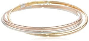 Bonded Sterling Silver and 14k Gold Tri-Color Interlocking Bangle Bracelets