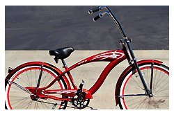 Steel Frame, Micargi Falcon GT - Red w/ Red Rims, 1-speed Beach Cruiser Bike Bicycle Schwinn Nirve Firmstrong Style