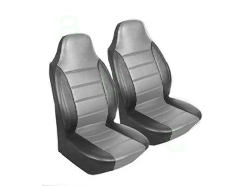 A Set of 2 Universal-Fit Front Bucket Simulated Leather Leatherette Seat Covers - Gray Center with Black Side Trim