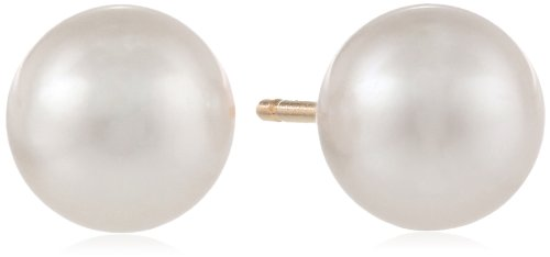 14K Yellow Gold 6X6.5Mm Aa Akoya Cultured Pearl Earrings